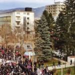 Okupljanje demonstranata na Trgu Republike u centru Podgorice