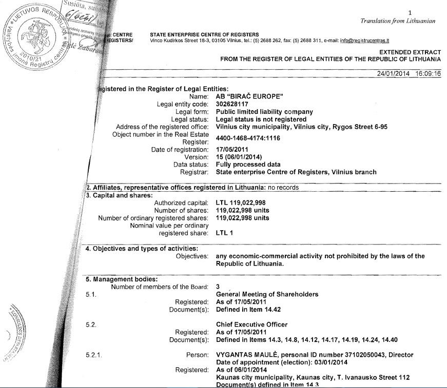 Rjesenje suda o promjeni uprave Birac Europe