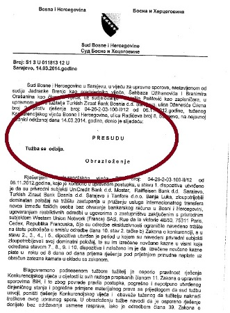 UniCredit, Raiffeisen i Turkish banka izgubile sudski spor – moraju platiti kaznu od 2,2 miliona KM!!!