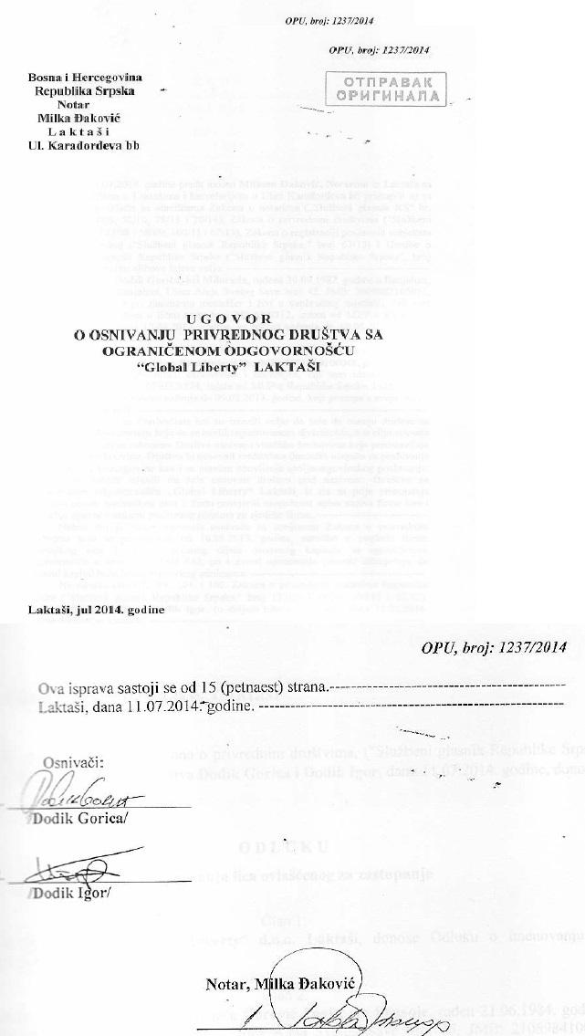Ugovor o osnivanju notar
