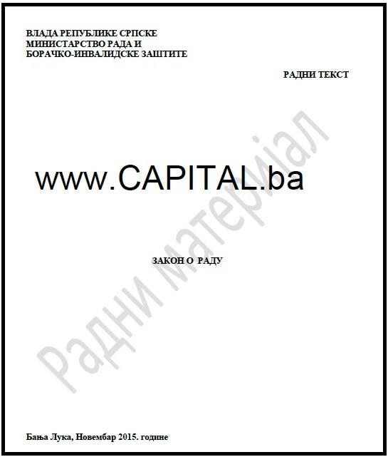 Ekskluzivno: Radna verzija Zakona o radu Republike Srpske