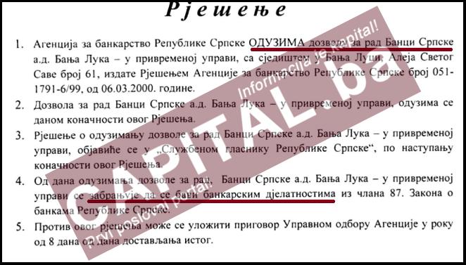 Agencija odlučila: Banka Srpske ide u likvidaciju!