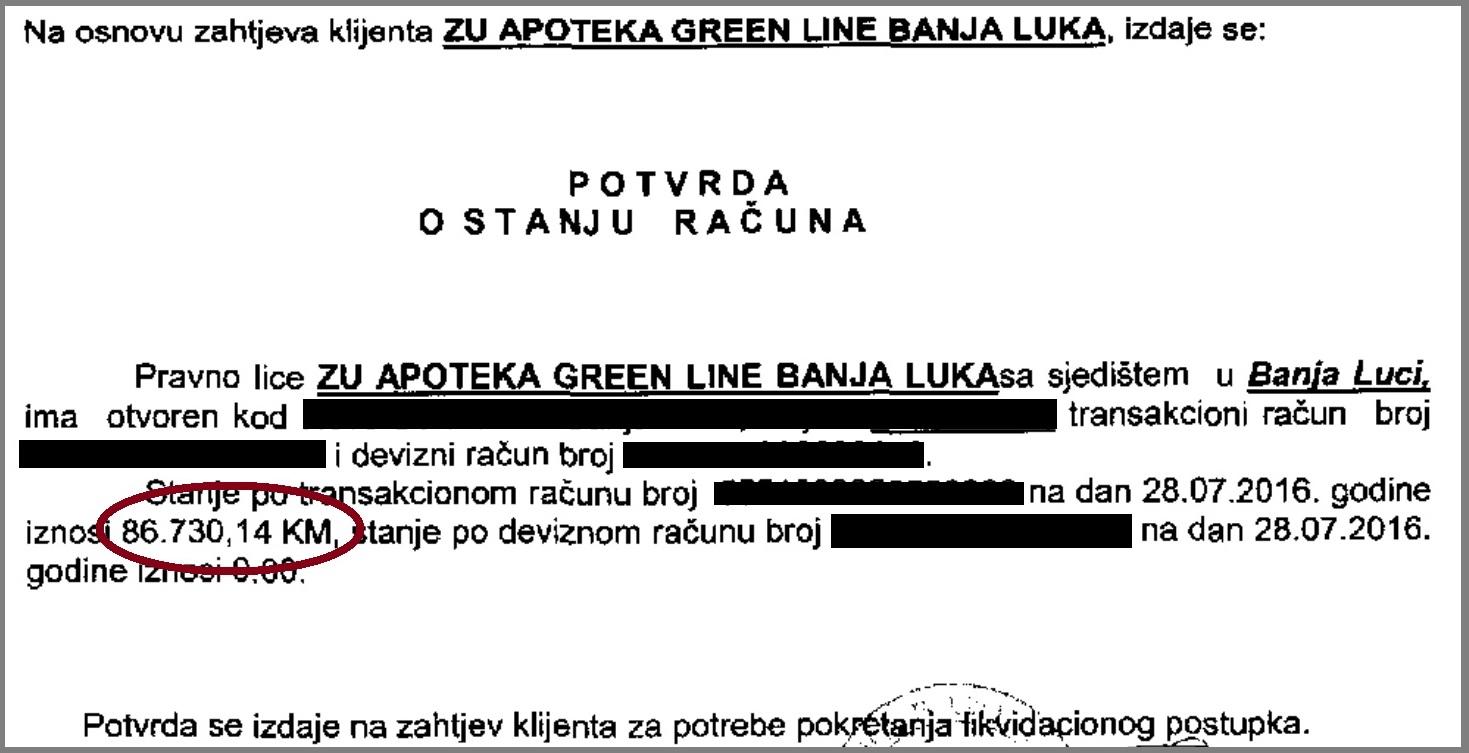 banka potvrda green line