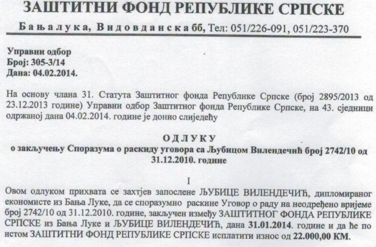 Zaštitni fond RS osuđenoj direktorici isplatio 22.000 KM otpremnine!!!
