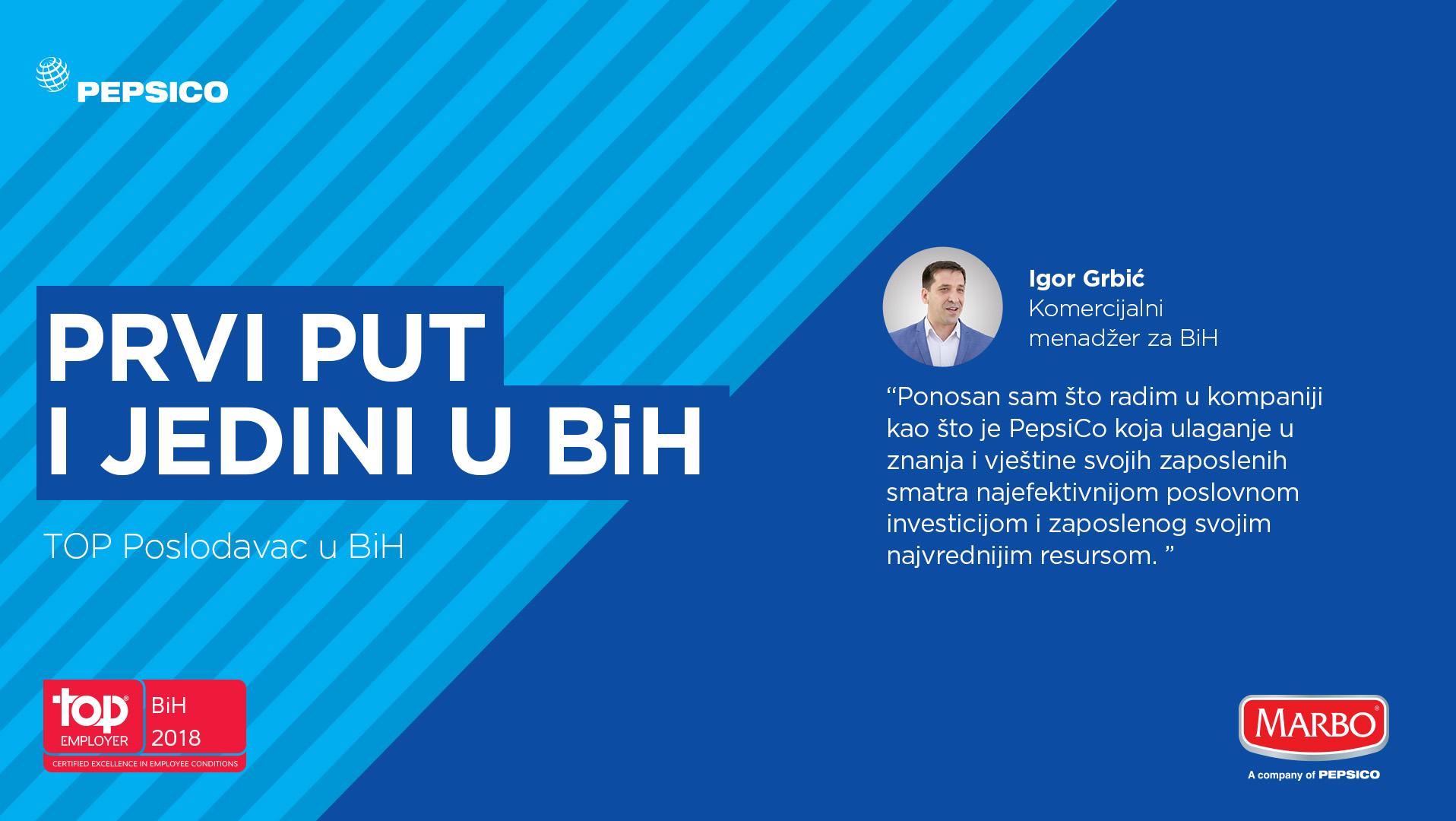 Kompanija Pepsico za Zapadni Balkan jedini dobitnik Top Employer priznanja u Bosni i Hercegovini