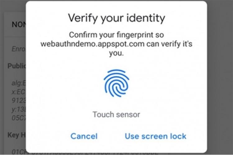 Chrome prihvata verifikaciju otiskom prsta