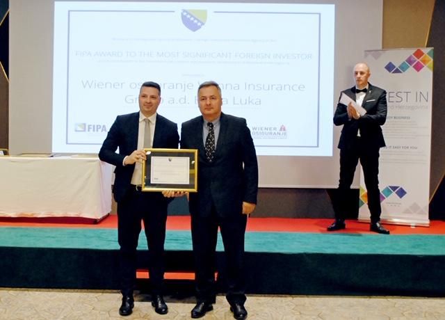 Wiener osiguranje VIG dobitnik priznanja FIPA za najznačajnije strane investitore u BiH