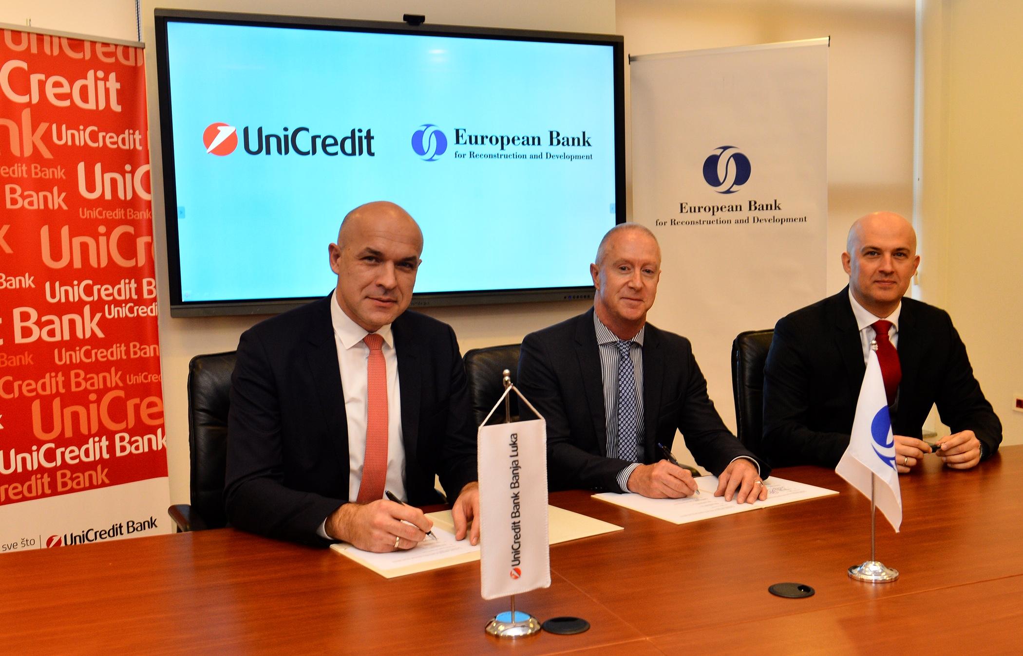UniCredit u BiH i EBRD potpisali ugovor o posebnoj kreditnoj liniji za razvoj konkurentnosti malih i srednjih preduzeća