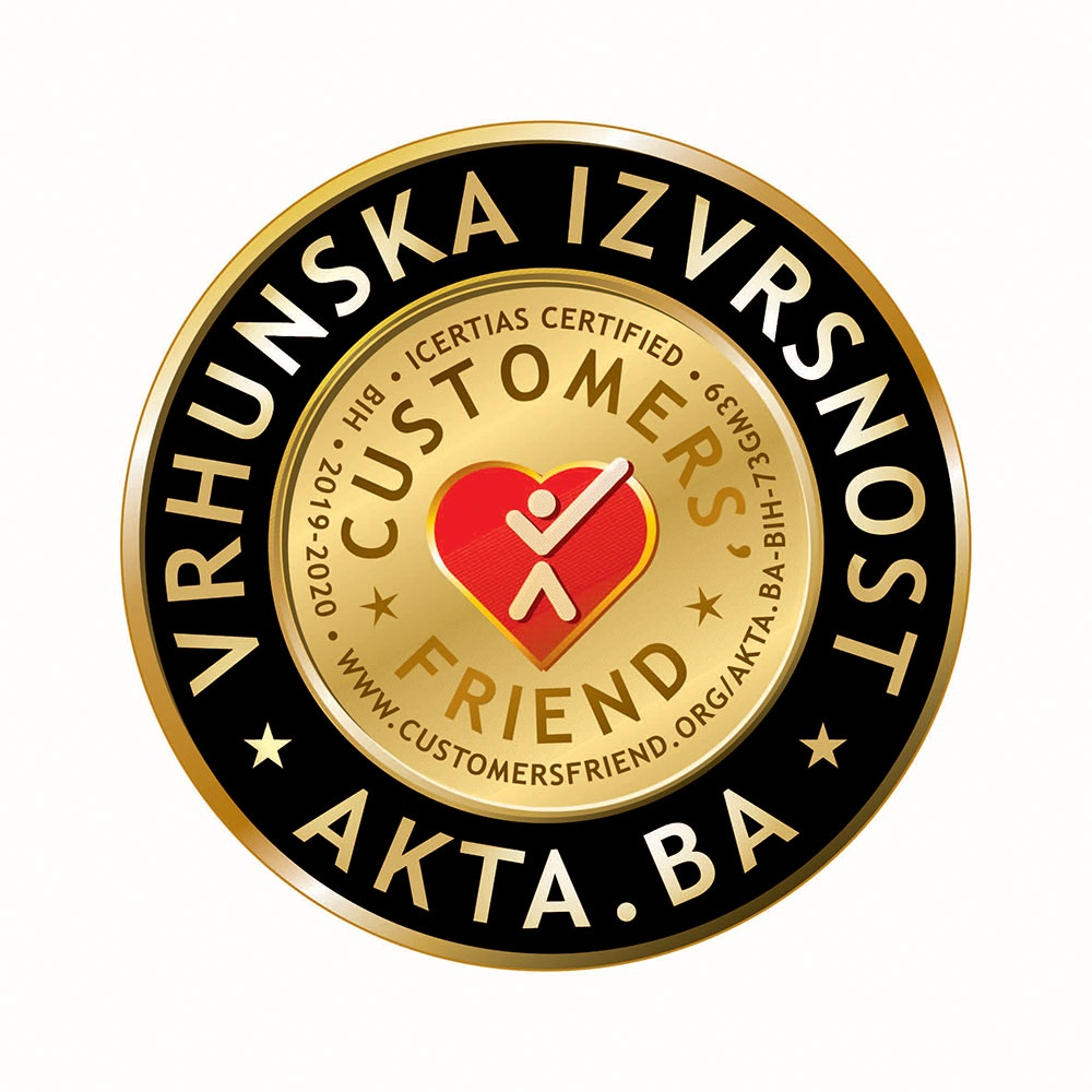 "Akta.ba nosilac sertifikata ""Customers' Friend – Vrhunska izvrsnost"""