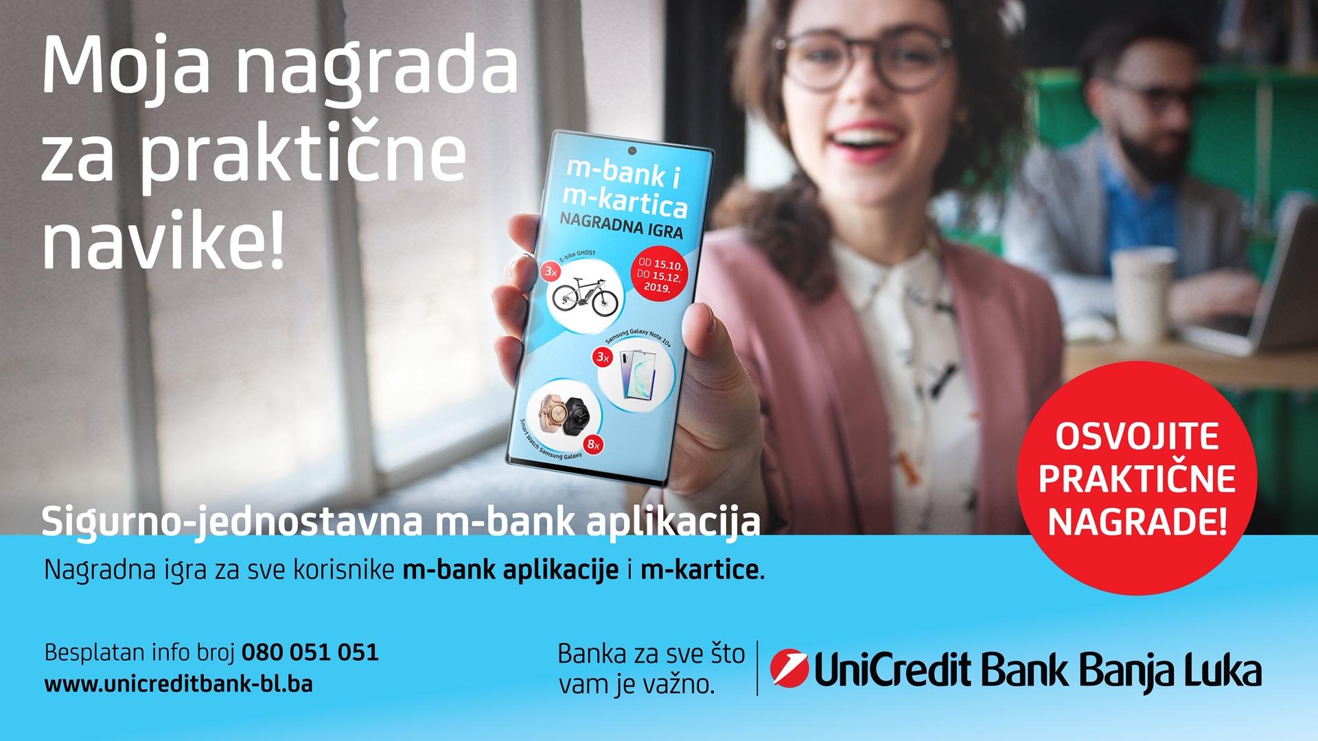 UniCredit Bank Banja Luka ukazuje na prednosti mobilnog bankarstva i nagrađuje praktične navike svojih klijenata